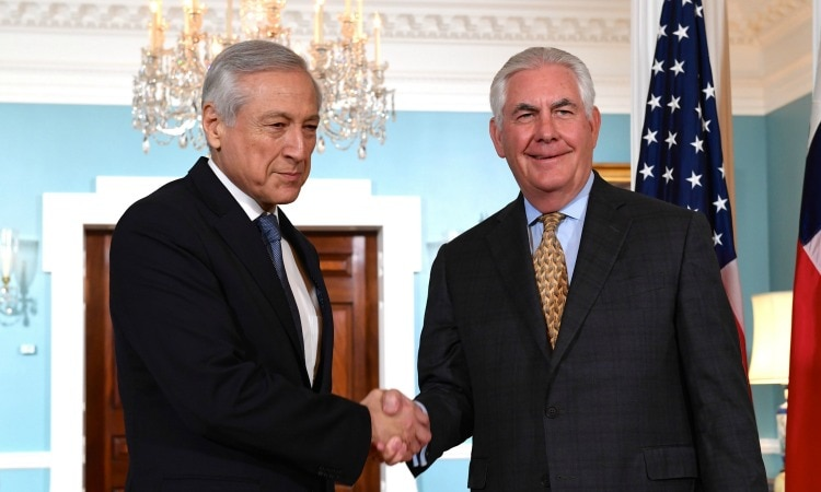 Secretary Tillerson Shakes Hands With Chilean Foreign Minister Munoz Before Their Meeting in Washington